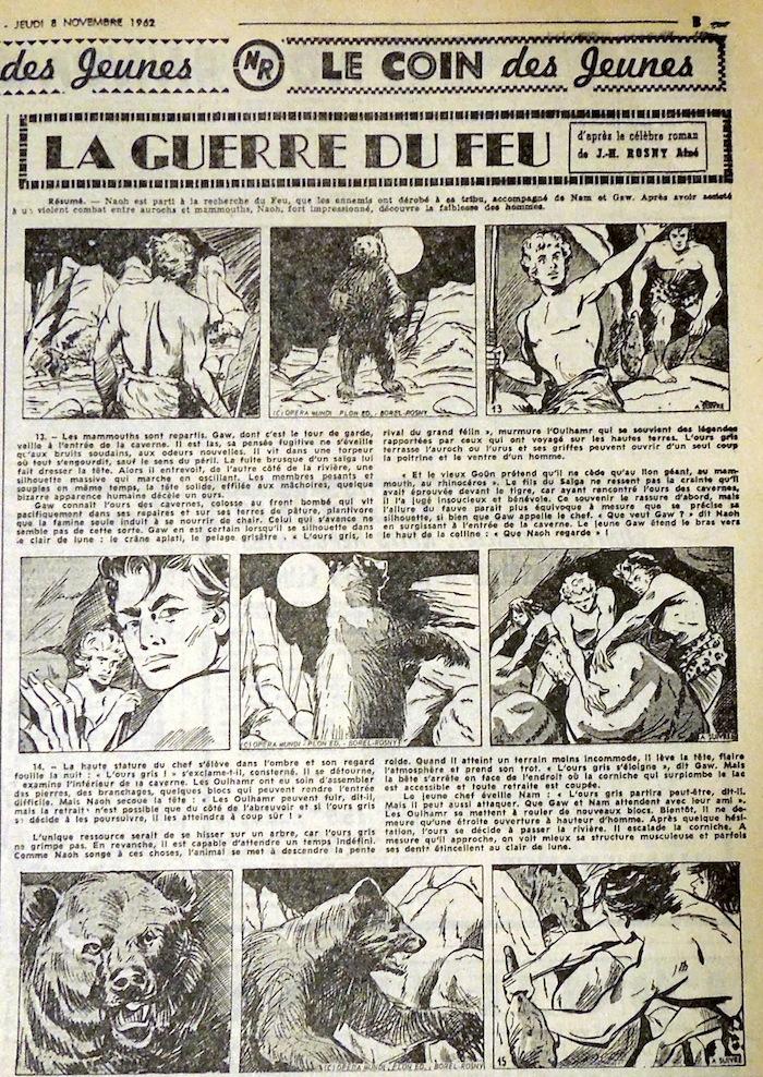 Autre exemple : José Larraz, avant de tourner des films érotiques, va donner dans des adaptations dessinées. Ici, la Guerre du Feu.