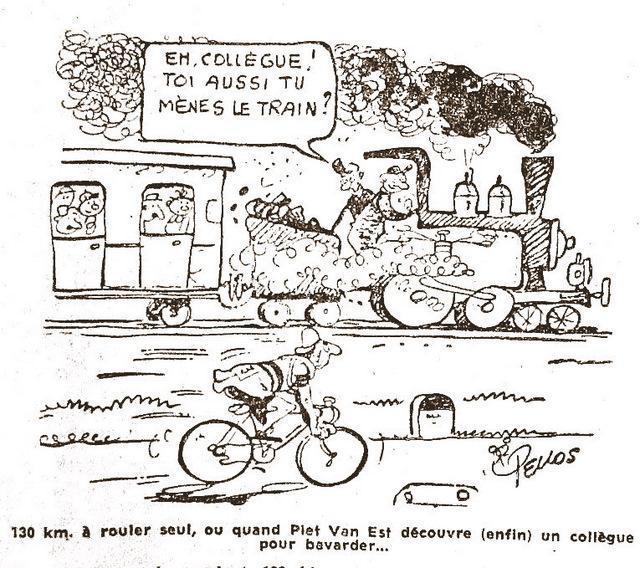 Alors que le Tour 2015 s'élance pour la 102e fois, cette série de dessins publiés dans la Nouvelle République en juillet 1959 pour rendre hommage à l'un des plus grands dessinateurs du cyclisme : Pellos (ici dédicaçant « Les cinq sous de Lavarède » à Angoulême en 1983)  a ajouté à la mythologie strictement sportive, un humour et une flamme qui ont fait beaucoup pour la légende de la Grande Boucle.