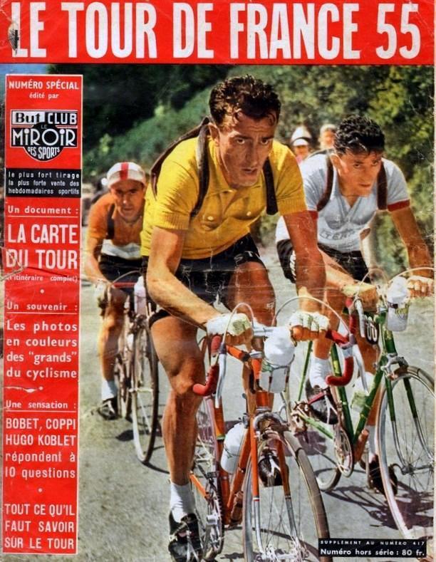Tous les journaux sportifs, comme ici le célèbre Miroir des Sports, faisaient des numéros spéciaux à l'approche du Tour comme celui de 1955 !