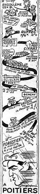 Chaque étape était, sur une colonne, disséquée et racontée (par Jacquemin ou Hervéou) comme un feuilleton vertical où les cols et les montagnes prenaient l'allure humaine pour mieux défier les « forçats de la route ».