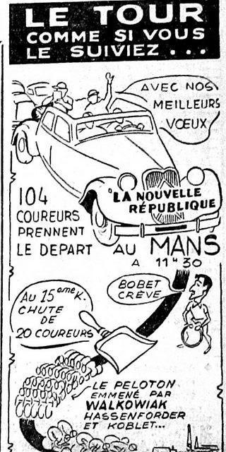 … et ses petits clins d'œil pour démontrer le suivi de la course, d'abord en voiture (on reconnaît la célébrissime Traction de Citroën)