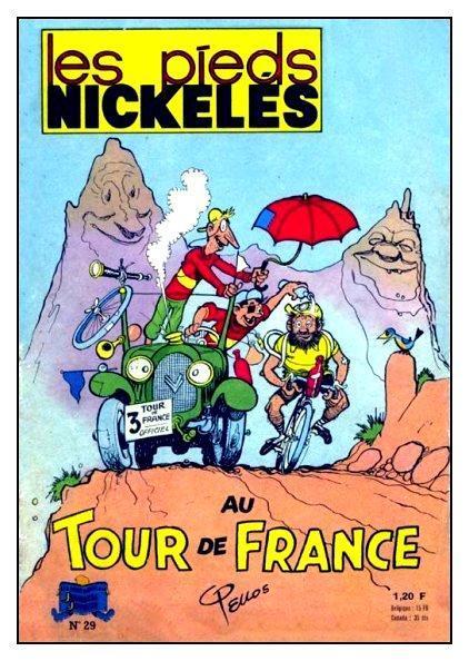 Dans son édition 2013 pour le centenaire du Tour, les éditions Vents d'Ouest ont repris cette couverture du magazine « Les pieds nickelés » datant des années 55-60 où Pellos avait envoyé son trio infernal sur les routes de la Grande boucle..