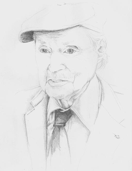 POrtrait au crayon de Maurice Genevoix, en 1980 (photo Jacques Tassin).