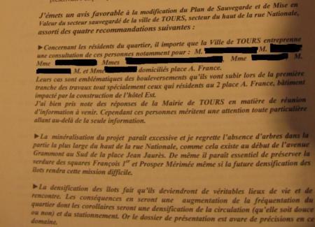 Conclusions du commissaire enquêteur sur l'enquête publique du haut de la rue Nationale