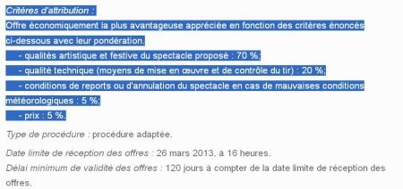 Les critères d'attribution du marché du feu d'artifice du 14 juillet.