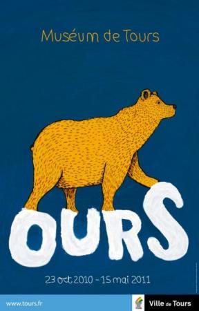 L'affiche de l'exposition Ours, présentée en 2010 au Muséeum d'histoire naturelle de Tours.