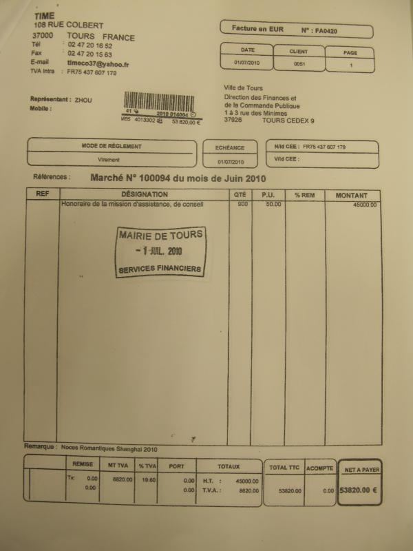 L'une des factures présentées par Time-Lotus Bleu à la mairie