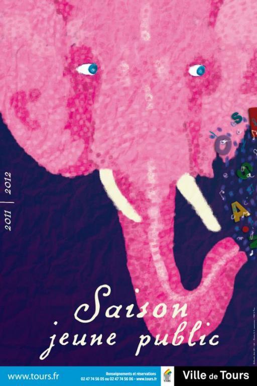 L'éléphant rose illustrant la programmation Jeune public de la Ville de Tours, en 2012.