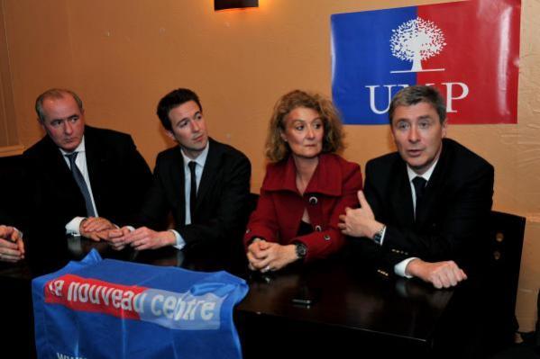 Maurice Leroy, Guillaume Peltier, Sophie Auconie et Philippe Briand, ce mercredi 3 avril à Tours.