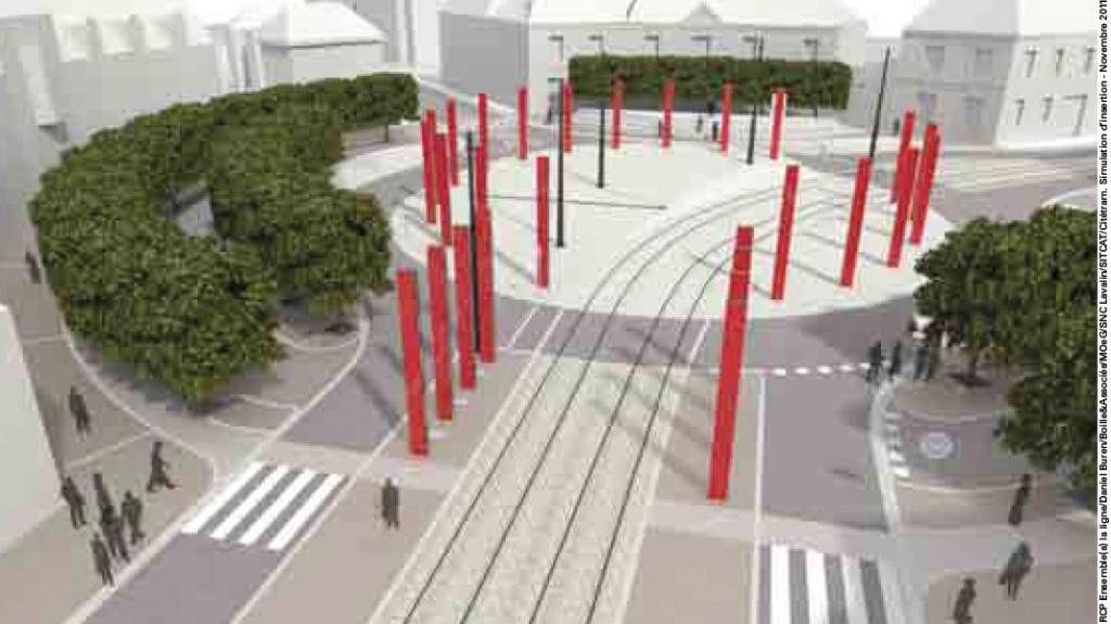 La place de la Tranchée réaménagée pour l'arrivée du tram (Document Sitcat).
