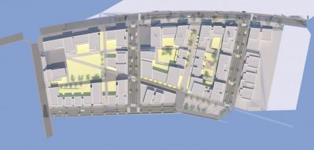 Plan masse du projet le Platinium, porté par Tours Promotions, rue de Suède.