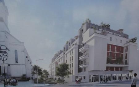 Le nouveau visuel de l'opération (en grand format), qui a fait son apparition il y a quelques jours devant le chantier de l'immeuble.