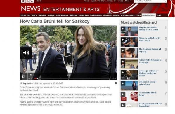 Carla Bruni se confie à la BBC