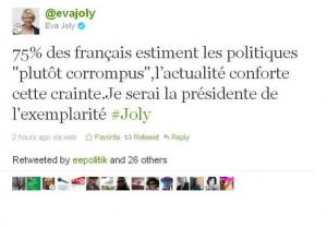 Eva Joly tweet pendant le débat pour la primaire socialiste.