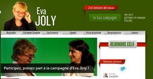 Page d'accueil du site officiel d'Eva Joly.