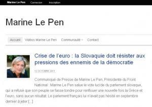Site officiel de Marine Le Pen.