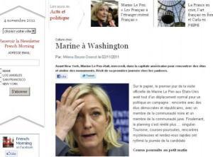 Le web journal des Français de New York a suivi la candidate du FN.