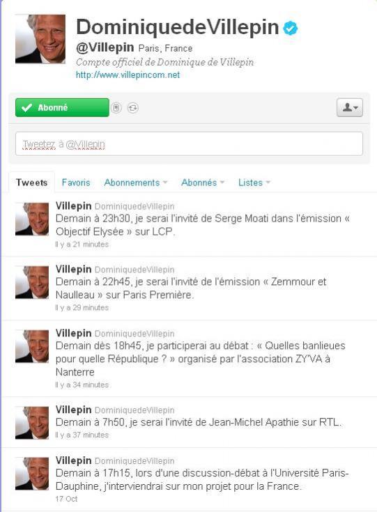 L'agenda de DDV en live sur son twitter.